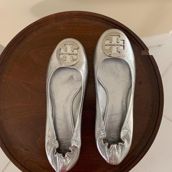 Tory Burch Shoes | Womens Silver Flats